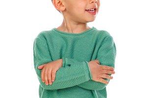 Funny small gipsy child with dark ha