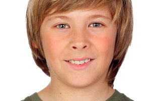 Portrait of a blond preteen boy