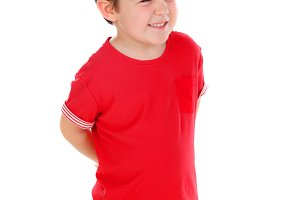 Funny small child with dark hair and