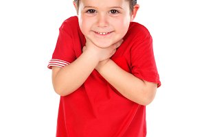 Surprised small boy with red shirt a