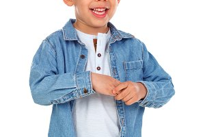 Happy dark child with denim shirt