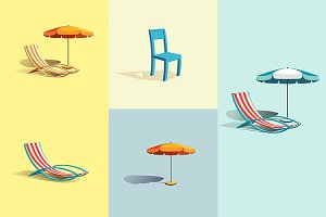 Summer umbrella and chair