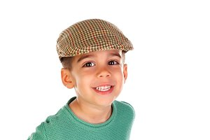 Funny small child with dark eyes and