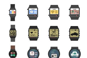 Smart watch icon flat set