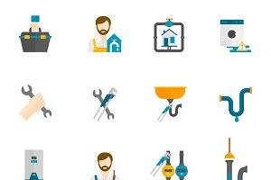 Plumber flat icons set