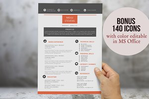 Red 2 in 1 Word Resume Pack