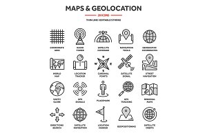 World map and location icon set ~ Icons ~ Creative Market