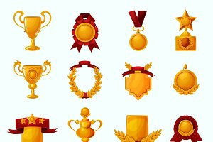 Award cups and shields cartoon icons