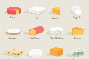 Cheese variety icon flat set