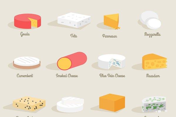 Cheese variety icon flat set