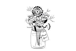 Doodle flowers bouquet
