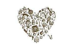 Russian sauna, heart shape for your