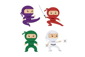 set of the cartoon colored ninjas