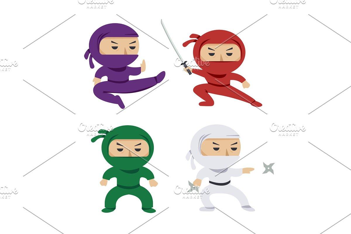 set of the cartoon colored ninjas