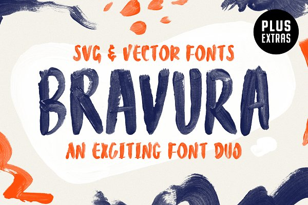 Display Fonts: Tom Chalky - Bravura SVG Font Duo & Extras!