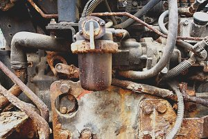 Detail of an old rusty engine