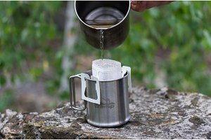 Brewing coffee in the outdoor.