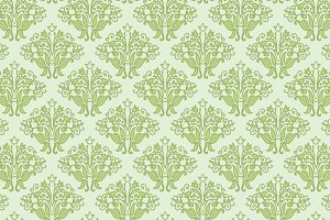 Vector green floral seamless pattern