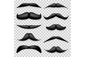Mustache isolated on white. Black
