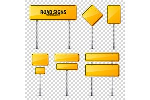 Road yellow traffic sign. Blank