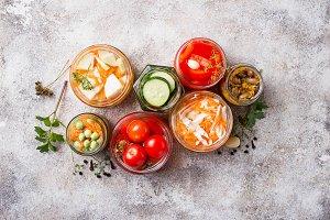 Fermented food. Preserved vegetables