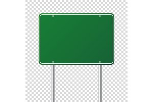 Road green traffic sign. Blank board