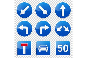 Road signs collection isolated on