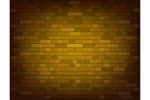 Dark yellow brick wall. Realistic