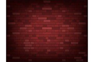 Dark red brick wall. Realistic