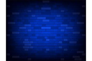 Dark blue brick wall. Realistic