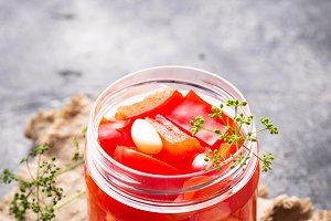 Homemade pickled bell pepper in jar