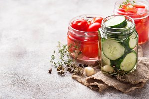 Assortment of pickled vegetable in