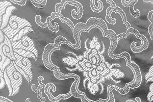 Chinese Silk Cloth in Black and Whit