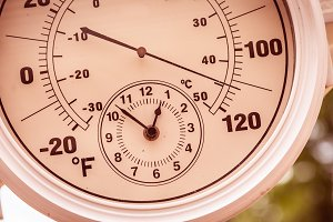 Round Thermometer Showing Over 110 D