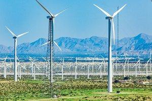 Dramatic Wind Turbine Farm in the De