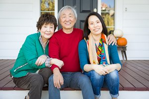 Happy Chinese Senior Adult Mother an