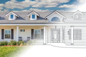 House Blueprint Drawing Gradating In