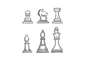 Hand Drawn engrave Chess Figures