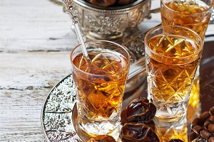 Arabic tea and dry dates