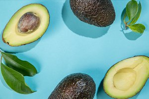 Slices of avocado on bright