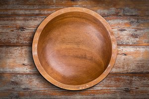 Empty wooden bowl
