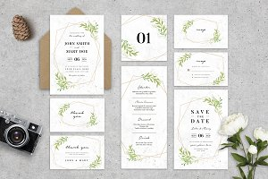 Geometric Wedding Invitation Suite