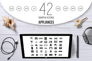 Appliances icon set, simple style