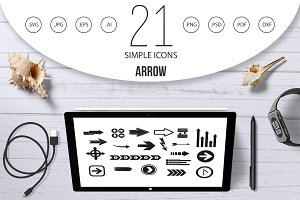 Arrow icon set, simple style