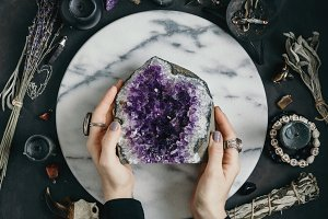 The witch holdings amethyst stone