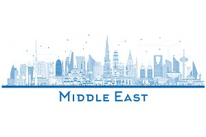Outline Middle East City Skyline