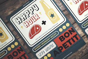 Retro Happy Hour Flyer