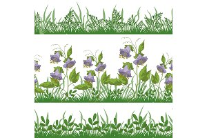 Flowers and grass, set seamless
