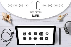 Barrel icon set, simple style