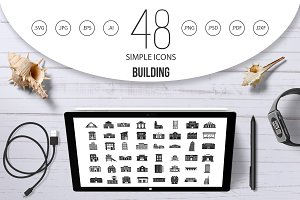 Building icon set, simple style
